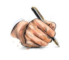 Male hand with pen from a splash of watercolor hand drawn sketch Vector illustration of paints