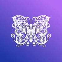 Butterfly floral with birds concept design vector