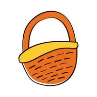 basket straw hand draw style icon vector