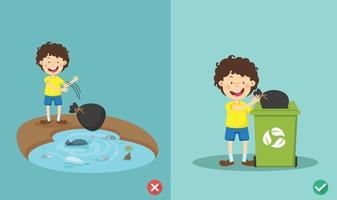 no arroje basura en el río ilustración vectorial incorrecta y correcta vector