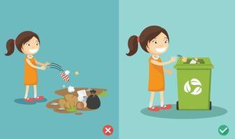 no tire basura en el suelo ilustración vectorial incorrecta y correcta vector