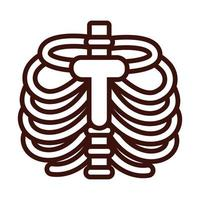 ribs bones body human part line style vector