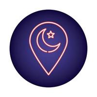 moon night with pin location neon light style icon vector