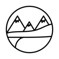 landscape with snow mountains scene line style icon vector
