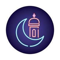 moon night with ramadan temple neon light style icon vector