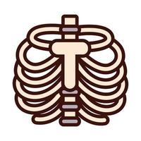 ribs bones body human part flat style vector