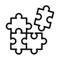 puzzle game pieces line style icon vector