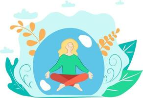 This is a flat illustration of a calm girl meditating and the woman is sitting in the lotus position with closed eyes vector