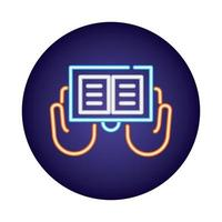 sacred book neon light style icon vector