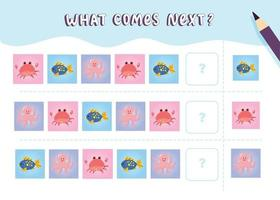 What comes next with cute marine mammals Cartoon vector illustration Logical worksheet for kids with sea animals