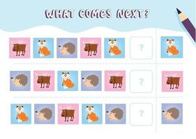What comes next with cute forest animals Cartoon vector illustration Logical worksheet for kids with elk fox hedgehog