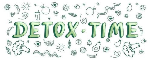 Detox time Colorful diet lettering with cute doodles on the background Vector illustration about healthy eating