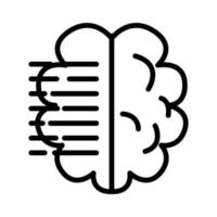 brain human with text lines line style icon vector