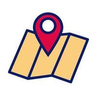 paper map guide with pin location line and fill style icon vector