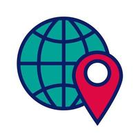 sphere with pin pointer location line and fill style icon vector