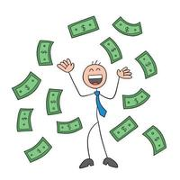 Stickman Businessman Character Happy and Paper Moneys Floating in Air Vector Cartoon Illustration