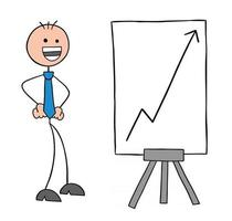 Stickman Businessman Character with the Rising Sales Chart and Very Happy Vector Cartoon Illustration