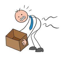 Stickman Businessman Character Hurts Back When Lifting Box Vector Cartoon Illustration