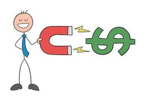 Stickman Businessman Character Holds a Magnet and Attracts Dollars Vector Cartoon Illustration