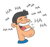 Cartoon Man Very Happy and Laughing Out Loud Vector Illustration