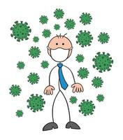Stickman Businessman Character Wearing a Mask and There Are Viruses Around Vector Cartoon Illustration