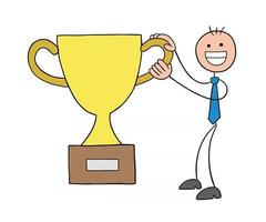 Stickman Businessman Character Happy and Won the Trophy Vector Cartoon Illustration