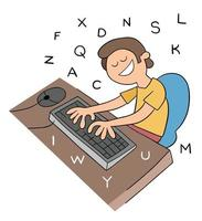 Cartoon Man Typing With Ten Fingers on the Keyboard Vector Illustration
