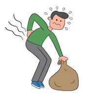 hombre de dibujos animados se inclina para recoger el saco pero le duele la espalda ilustración vectorial vector