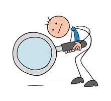 Stickman Businessman Character Looking Down with a Magnifying Glass Vector Cartoon Illustration