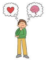 Cartoon Man Thinks He Should Listen to His Heart or His Mind Vector Illustration