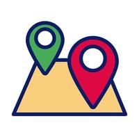 paper map guide with pins location line and fill style icon vector
