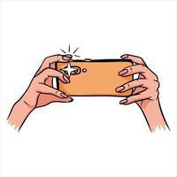 Photos on the phone Phone in hand Selfie Cartoon style vector