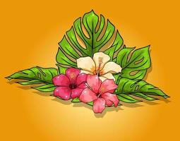 Tropical collection with exotic flowers and carved leaves in cartoon style vector