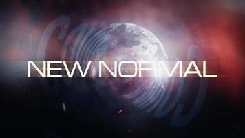 nieuwe normale luswereld roterende 3D-tekst filmisch video