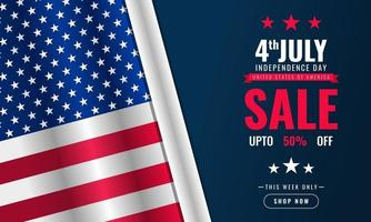 4th Of July Independence Day background sales promotion advertising banner template with American flag design vector