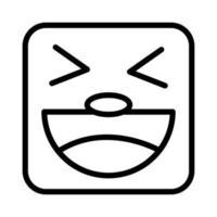 square emoji crazy face line style icon vector