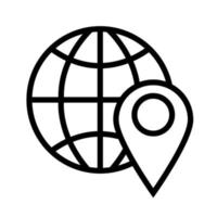 sphere with pin pointer location line style icon vector