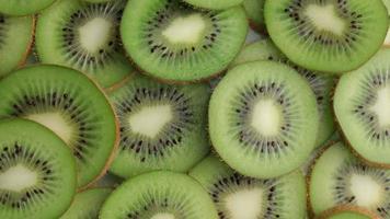 Kiwi fruit slices, closeup video
