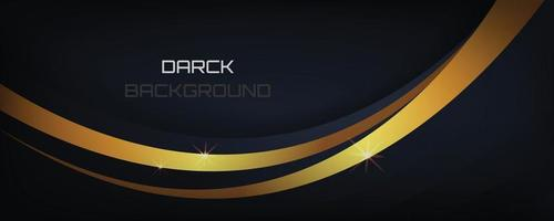 Dark and black luxury abstract with golden line banner and wallpaper and card cover background vector