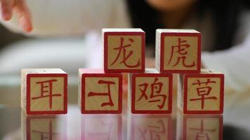 Closeup of young girl stacking Chinese blocks video