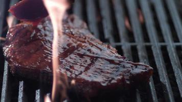 Barbeque sauce on t-bone steak, shot on Phantom Flex 4K video