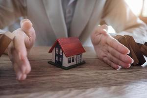 Protect the house from falling over the wooden blocks photo