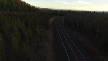 Aerial view of highway and forest in Oregon video