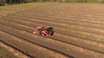 Aerial view of tractor on farm driving down rows video