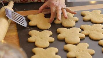 Moving gingerbread cookies to cooling rack video