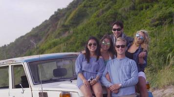 Portrait of group of friends at beach video