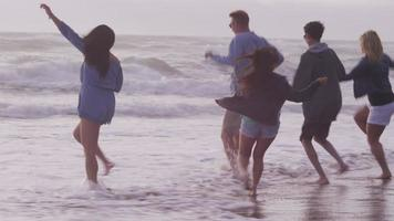 Group of friends at beach running together video