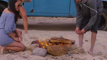 Group of friends at beach starting campfire video