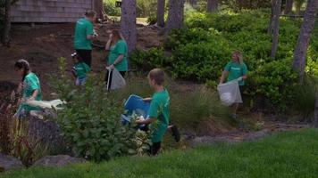 grupo de voluntários limpando parque video