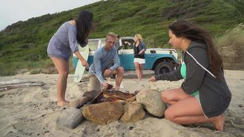 Group of friends at beach hanging out by campfire roasting marshmallows video